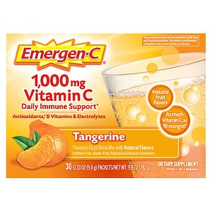 Emergen-C 1000 mg Vitamin C Fizzy Drink Mix, Tangerine, 30 packets